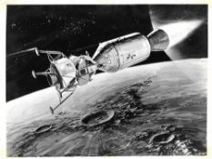 Nine artist renditions of the Apollo Saturn 5 spacecraft and lunar landing, Project Apollo, 1960s