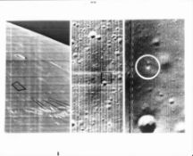 Views of Surveyor 1's landing site, a mosaic, Lunar Orbiter 3, February 1967
