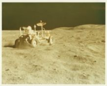Lunar Rover getting a speed work out by John Young, Apollo 16, April 1972
