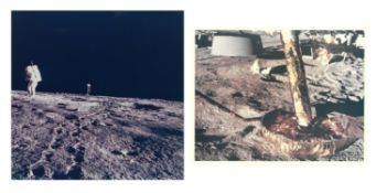Diptych: the footpad of the LM and Alan Bean photographing the LM, Apollo 12, November 1969, EVA 1