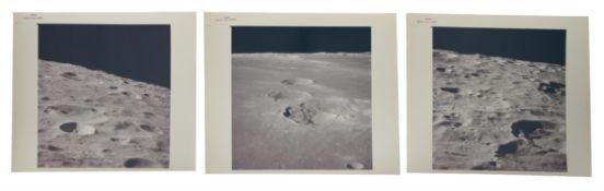 Triptych: orbital views of lunar landscapes, Apollo 16, April 1972