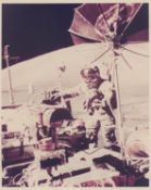 Portrait of Eugene Cernan with the Lunar Rover, Apollo 17, December 1972, EVA 3