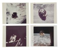 Views of the spacecraft over the Earth and Russell Schweickart's EVA, Apollo 9, March 1969