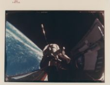Richard Gordon's first spacewalk while attached by a tether to Agena, Gemini 11, September 1966