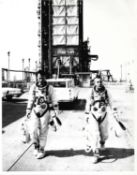 Portraits of Gus Grissom and John Young, pre-flight activities, Gemini 3, March 1965