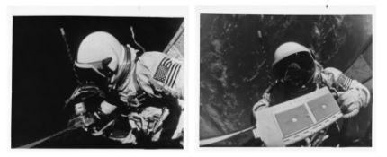 Two consecutive views of Buzz Aldrin performing a spacewalk, Gemini 12, November 1966