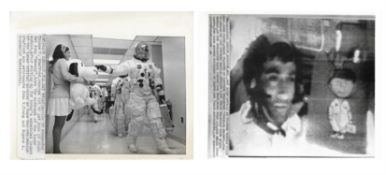 Views of the crew with Snoopy and Charlie Brown mascots, Apollo 10, May 1969