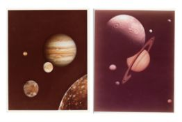 Two composite images of Jupiter and Saturn with their moons, Voyager 1, 1979