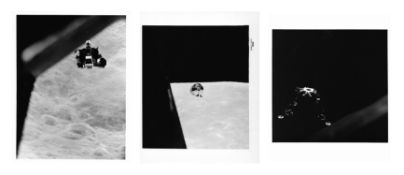 Three views of LM 'Snoopy' and CM 'Charlie Brown' in Moon's orbit, Apollo 10, May 1969