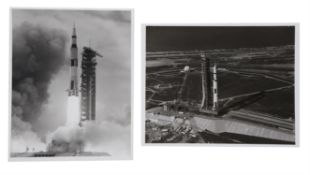 Saturn V moments after the lift-off; a view of the rocket on the pad, Apollo 11, 16 July 1969
