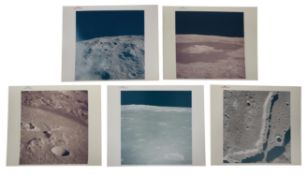 Five moonscapes photographed from orbit, Apollo 15, July-August 1971