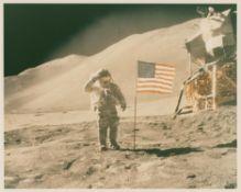 David Scott saluting the American flag, Apollo 15, July-August 1971, EVA 3