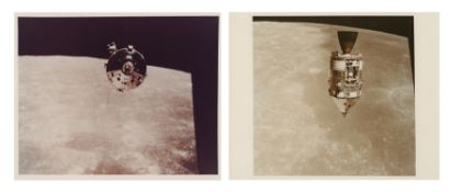 Diptych: the CM 'Endeavour' during pitcharound in lunar orbit, Apollo 15, July-August 1971