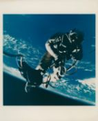 First U.S. spacewalk: Ed White floats in zero gravity over the Gulf of Mexico, Gemini 4., June 1965