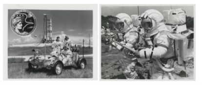 The crew of the last manned lunar landing mission; pre-launch activities, Apollo 17, December 1972