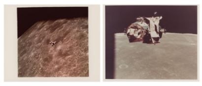 LM Orion's ascent stage while rising from the Moon and in orbit, Apollo 16, April 1972