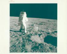 Alan Bean collecting lunar samples during first EVA, Apollo 12, November 1969