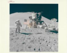 James Irwin saluting the American flag, Apollo 15, July-August 1971, EVA 3