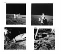 Four views of Charles Conrad's activities on the lunar surface, Apollo 12, November 1969