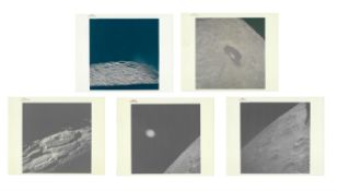 Five views of the far side of the Moon taken during the homeward journey, Apollo 13, April 1979