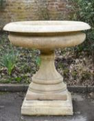 A large English stone composition tazza in the style of examples by John Marriott Blashfield