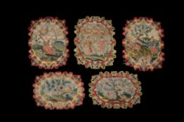 A collection of fine Queen Anne needlework panels, mostly first quarter 18th century