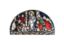 A stained glass overdoor, The Raising of Lazarus, probably English