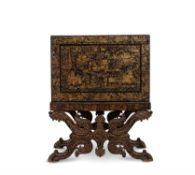 An Anglo-Indian lacquer cabinet on stand, 19th century, Bareilly region