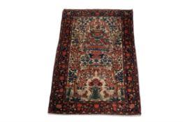 A Sarouk part silk prayer rug