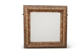 An Italian carved wood and polychrome painted rectangular wall mirror, 18th century