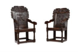 A William and Mary carved oak wainscot armchair