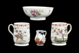 A pair of Bow polychrome mugs painted with birds