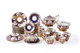 A Swansea porcelain blue-ground and gilt part tea service