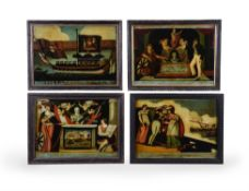 A group of twelve George III and Regency reverse painted glass pictures of military and political su