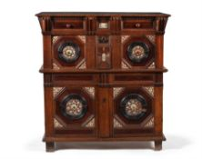 Y A Charles II oak, ebonised, snakewood, mother of pearl and bone inlaid chest, dated 1662