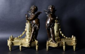 A pair of French gilt and patinated bronze figural chenets, in Louis XVI style, late 19th century