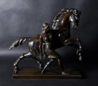 A French patinated bronze group of an Amazon and her horse