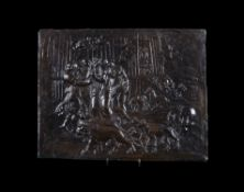 A Continental patinated bronze Biblical relief plaque of Noah Leaving the Ark