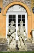 A pair of carved stone garden models of Neptune and Amphitrite in Neoclassical style