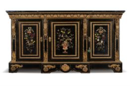 A Napoleon III ebonised, pietra dura and gilt metal mounted side cabinet