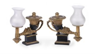 A pair of George IV gilt and patinated bronze rhyton colza oil lamps