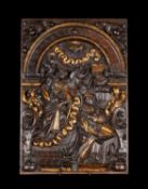 A set of three Flemish sculpted and parcel gilt oak Biblical bas-reliefs, 17th century