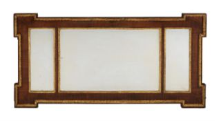 A exotic wood and parcel giltwood wall mirror, 19th century or earlier