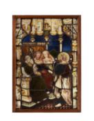 A Biblical stained glass panel, St Paul before Porcius Festus