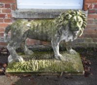 An English sculpted limestone model of a lion