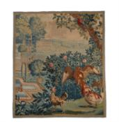 A Flemish tapestry panel with birds in a garden, early 18th century, possibly Lille