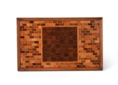 Y A specimen parquetry chess board tray