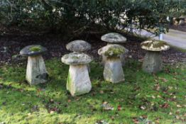 A group of six limestone, possibly Cotswold stone, staddle stones