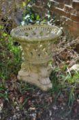 A good English stoneware or buff terracotta garden urn