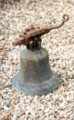 A Victorian bronze and iron mounted bell, J. Warner & Sons, London